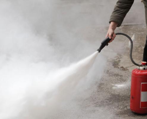Intervention en cas de poussière extinctrice