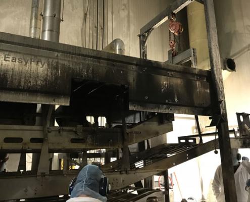Industrial deep fryer before cleaning